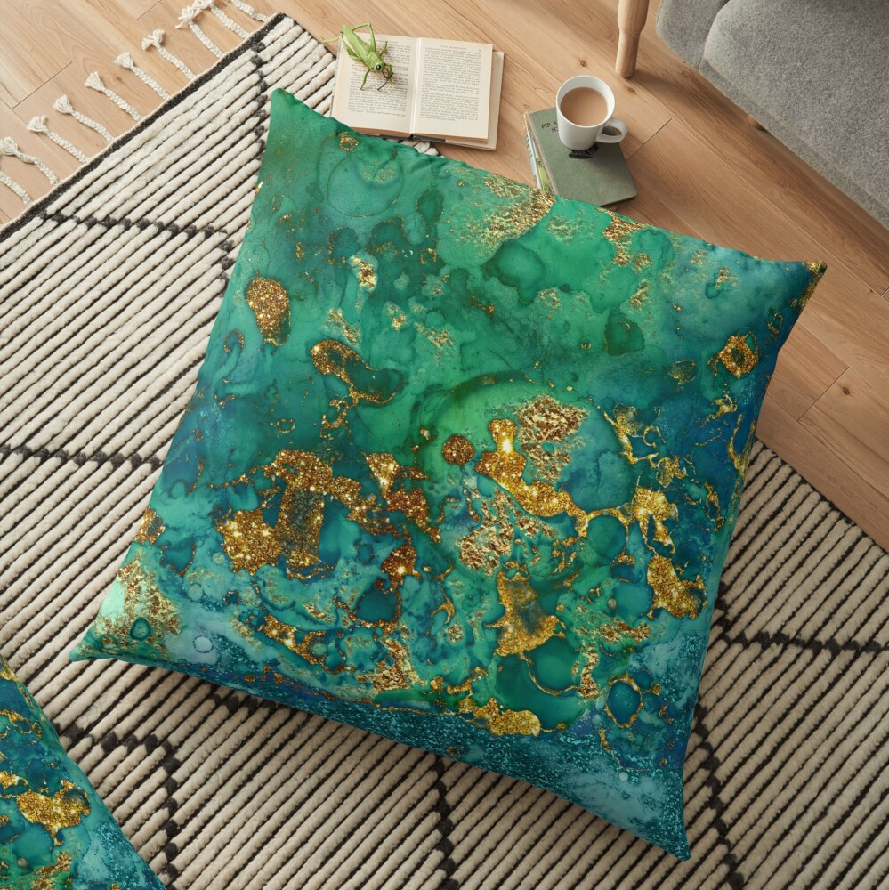 Sparkling Gold Glitter on Green and Blue marble Floor Pillow