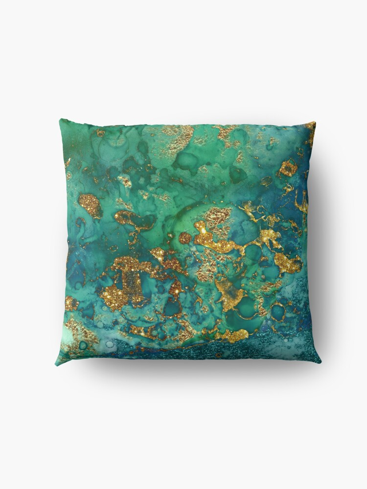 Alternate view of Sparkling Gold Glitter on Green and Blue marble Floor Pillow