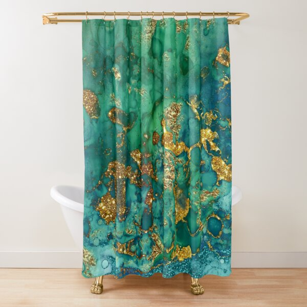 Sparkling Gold Glitter on Green and Blue marble Shower Curtain