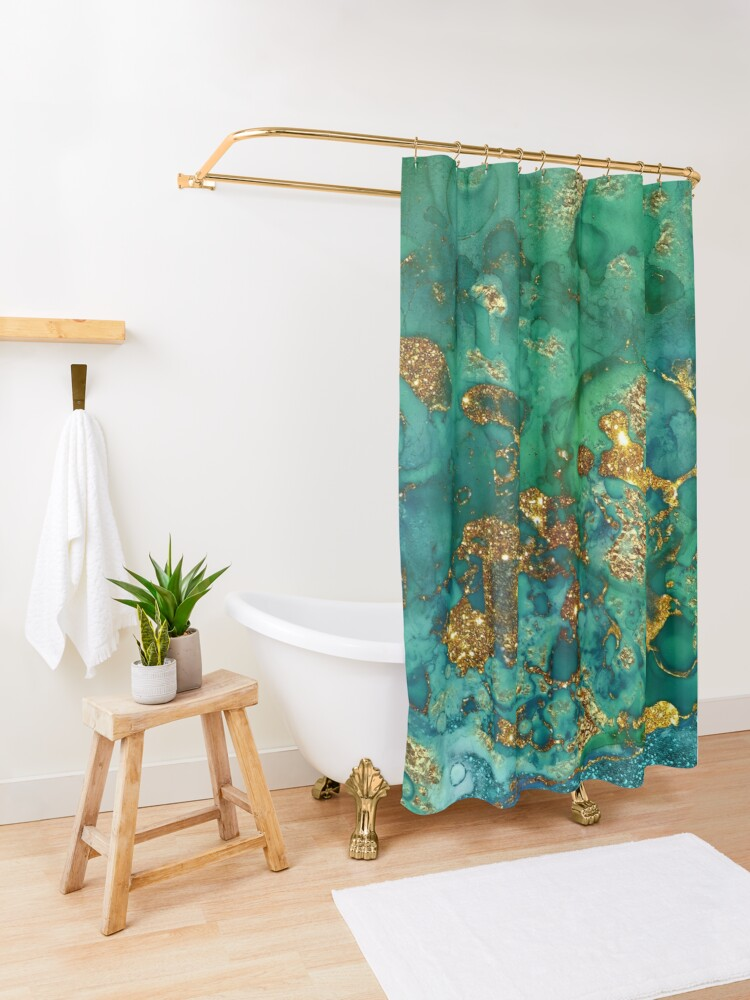 Alternate view of Sparkling Gold Glitter on Green and Blue marble Shower Curtain