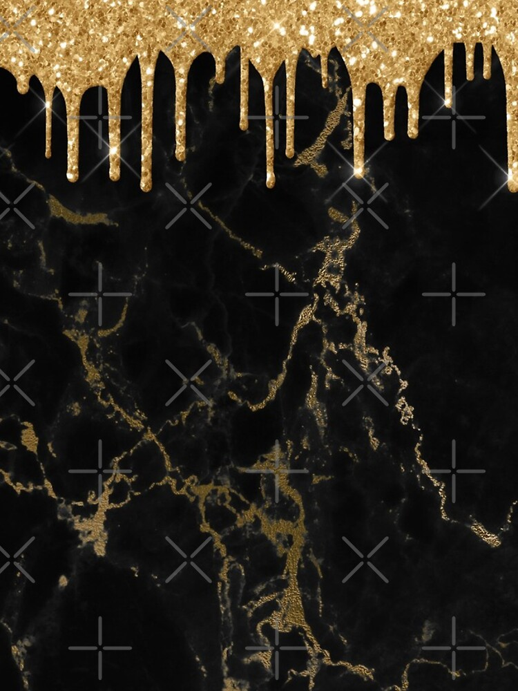Gold Glitter Rain Drops on Black Marble with Gold veins by MysticMarble