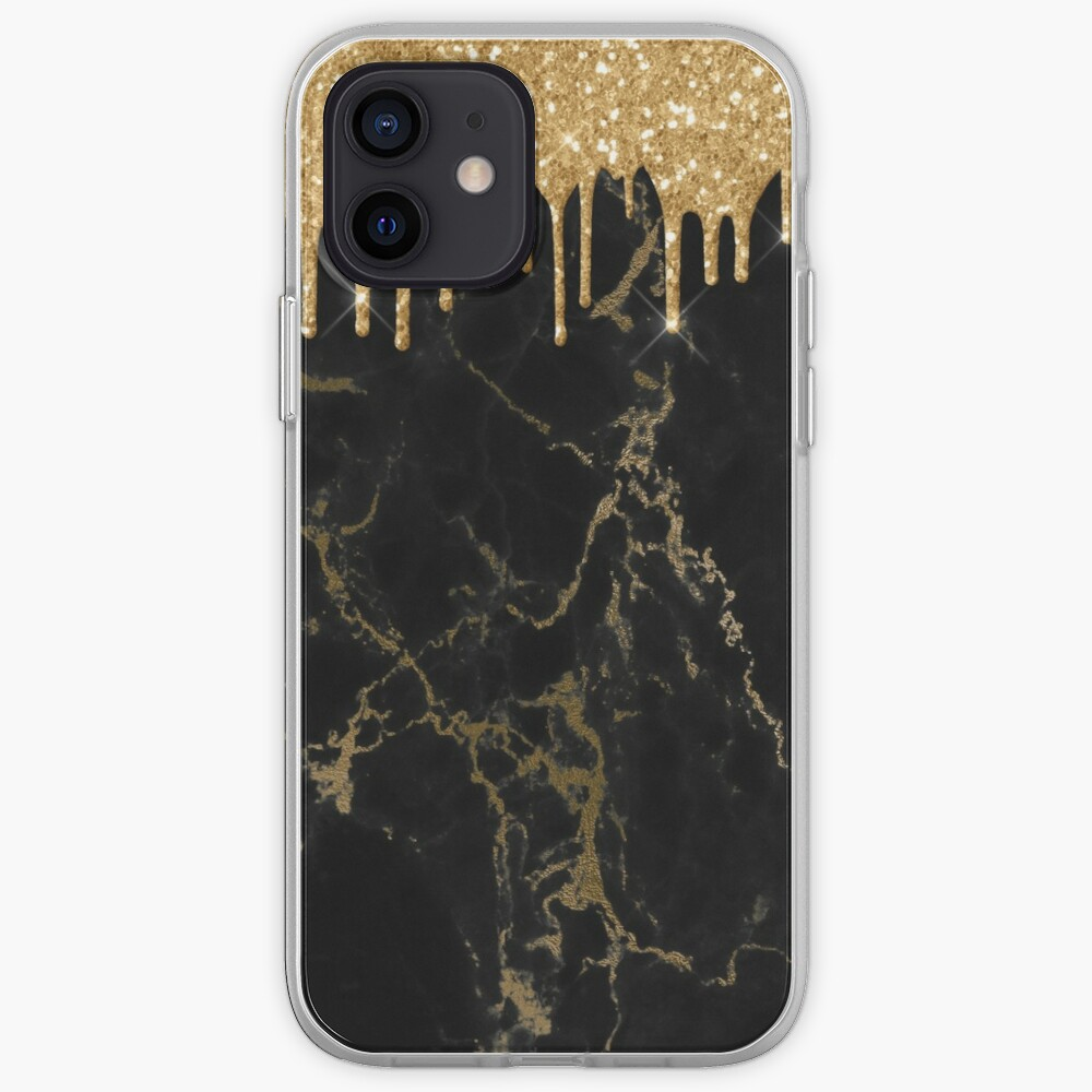 Gold Glitter Rain Drops on Black Marble with Gold veins iPhone Case & Cover