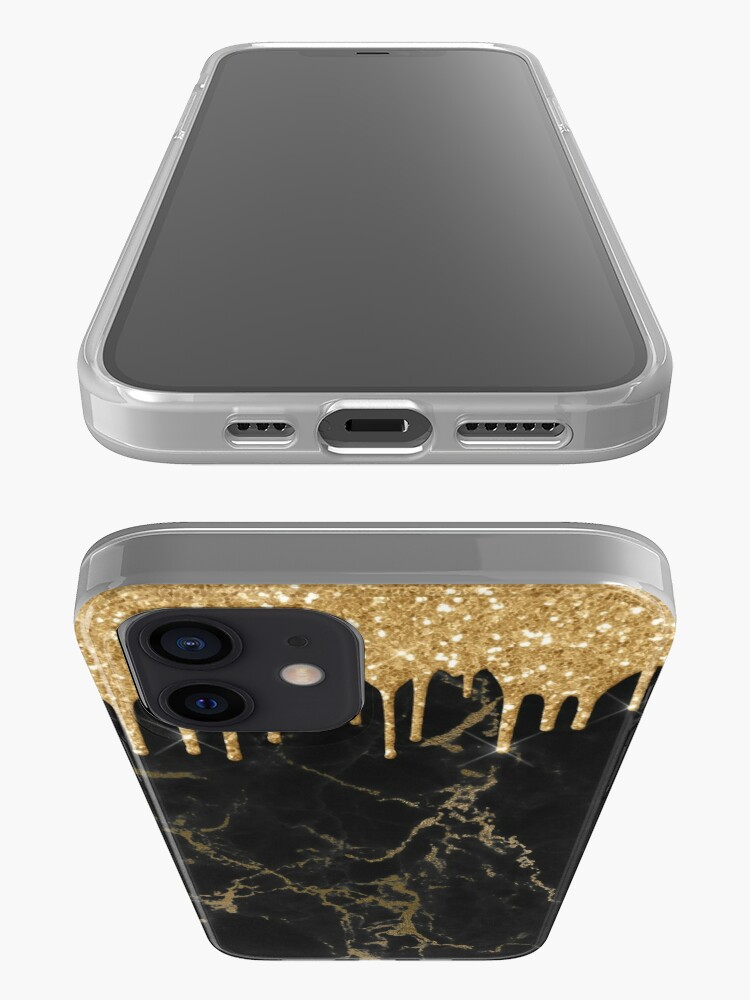 Alternate view of Gold Glitter Rain Drops on Black Marble with Gold veins iPhone Case & Cover