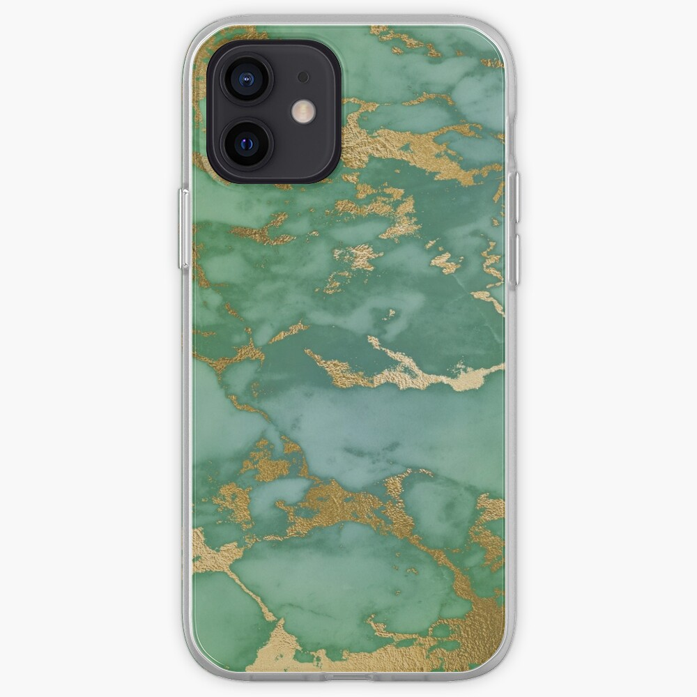 Gold Veined Green Luxury Marble iPhone Case & Cover
