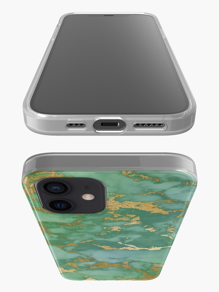 Alternate view of Gold Veined Green Luxury Marble iPhone Case & Cover