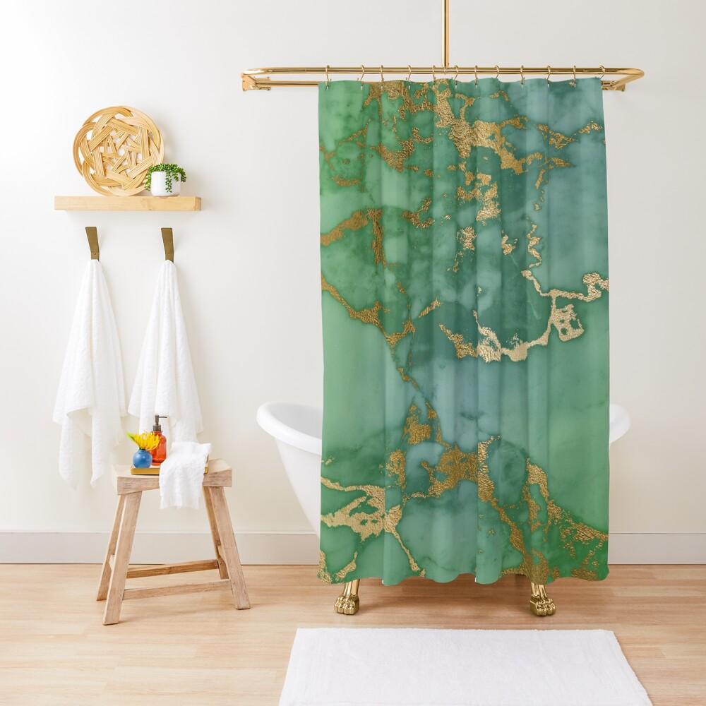 Gold Veined Green Luxury Marble Shower Curtain