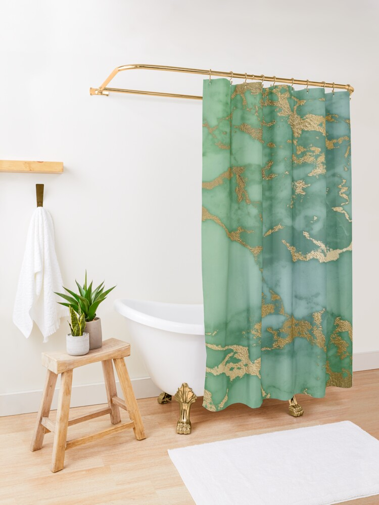 Alternate view of Gold Veined Green Luxury Marble Shower Curtain