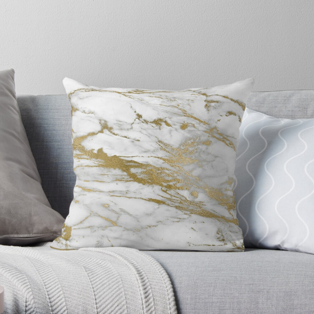 Gold Veins on Gray and White Marble Throw Pillow