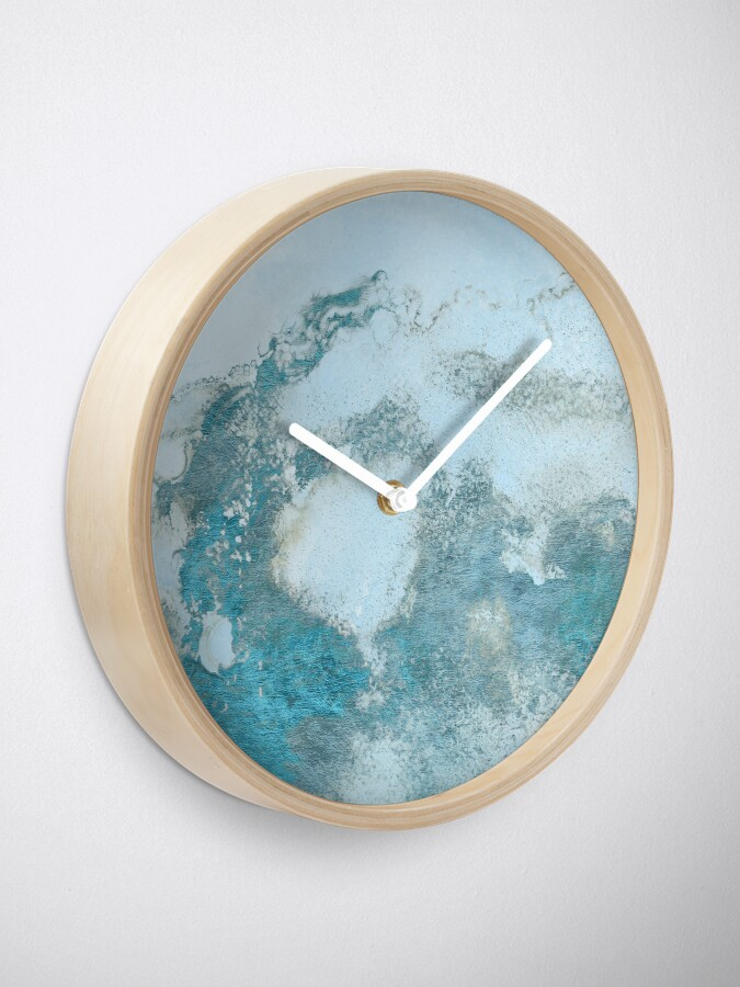 Alternate view of Ice Blue Metal Foil and Light Blue Marble Texture Clock