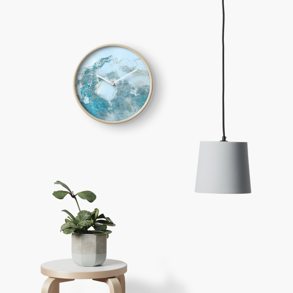 Ice Blue Metal Foil and Light Blue Marble Texture Clock