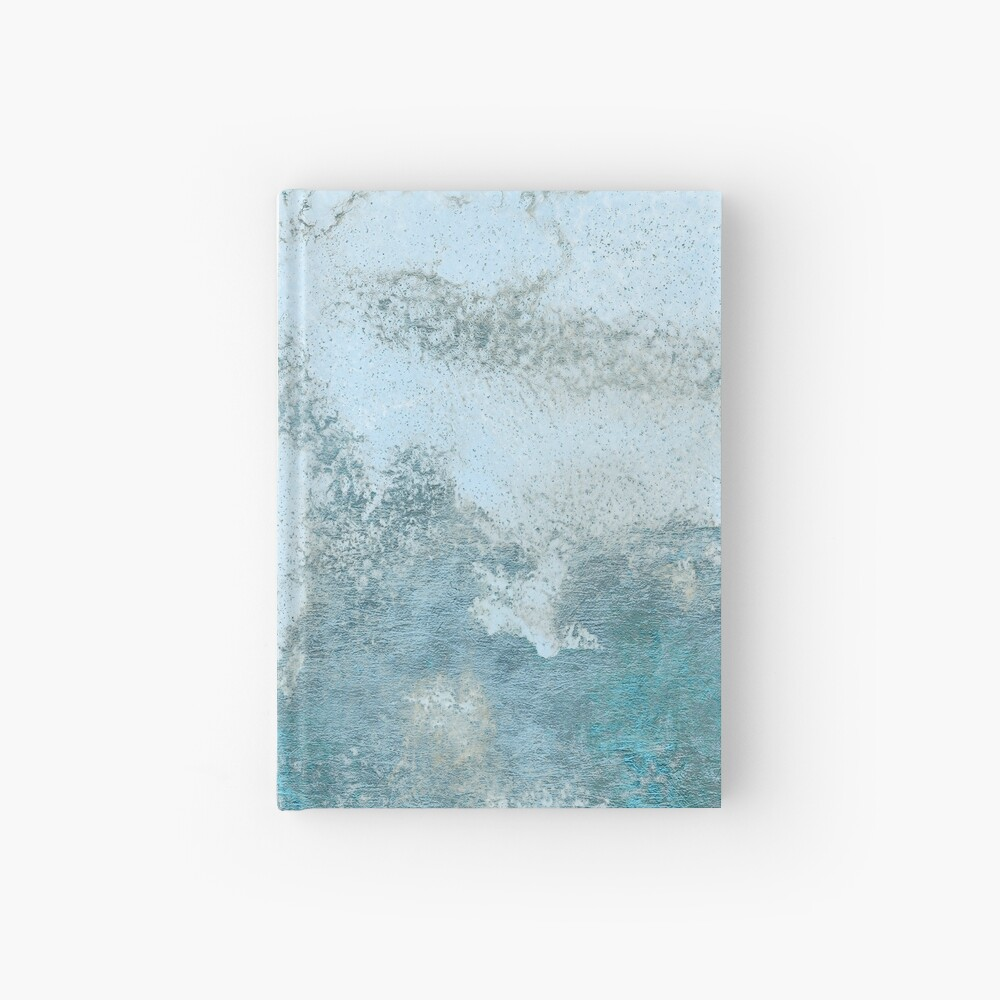 Ice Blue Metal Foil and Light Blue Marble Texture Hardcover Journal