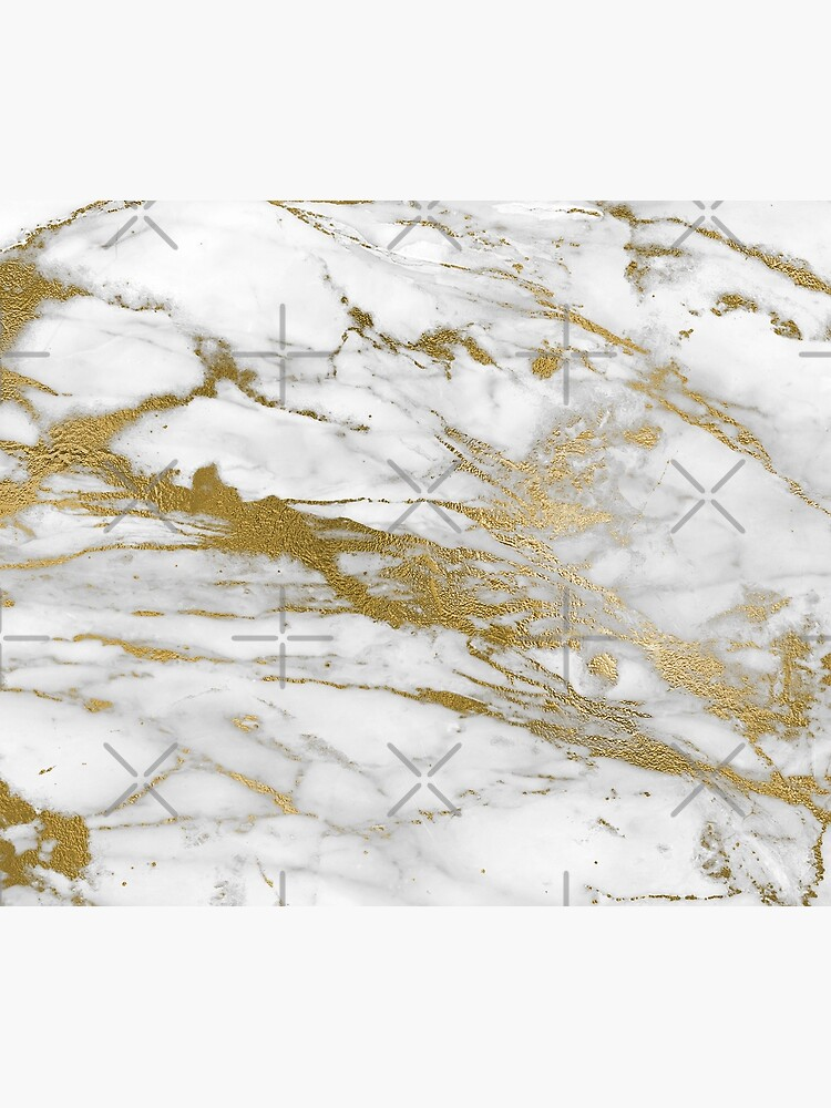 Gold Veins on Gray and White Marble by MysticMarble