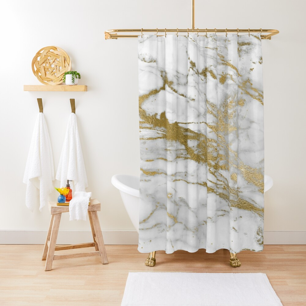 Gold Veins on Gray and White Marble Shower Curtain