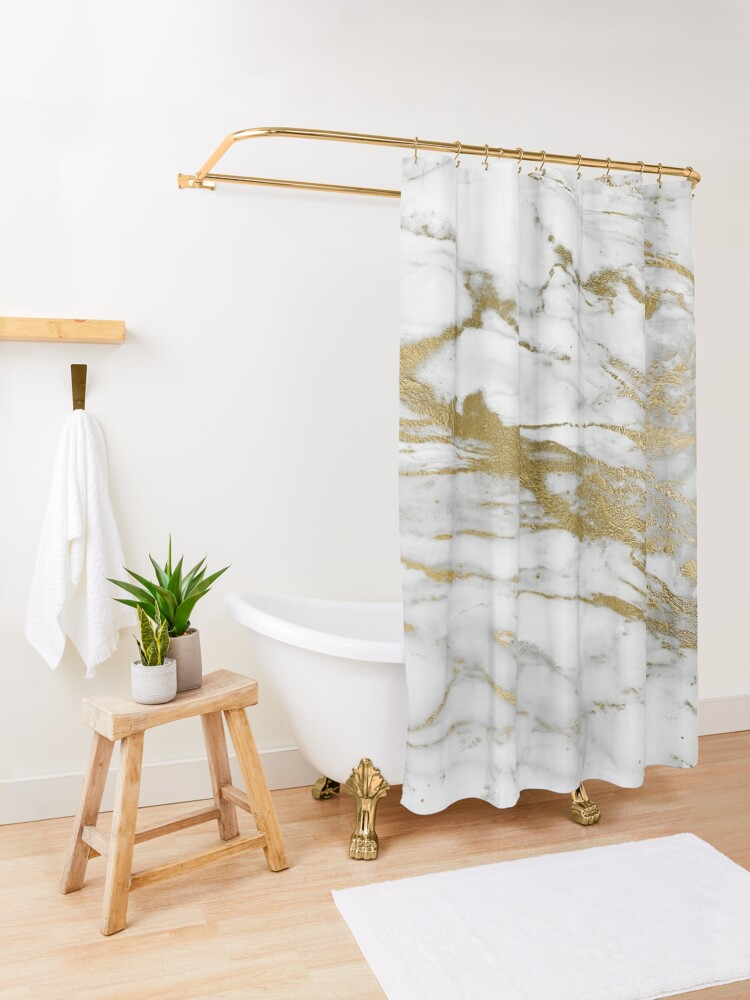 Alternate view of Gold Veins on Gray and White Marble Shower Curtain