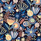 Dunkles Blumenmuster von TigaTiga