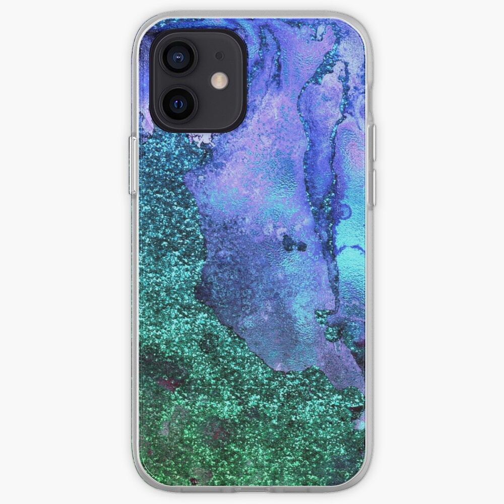Ocean Mermaid Blue and Green Glitter on Marble iPhone Case & Cover