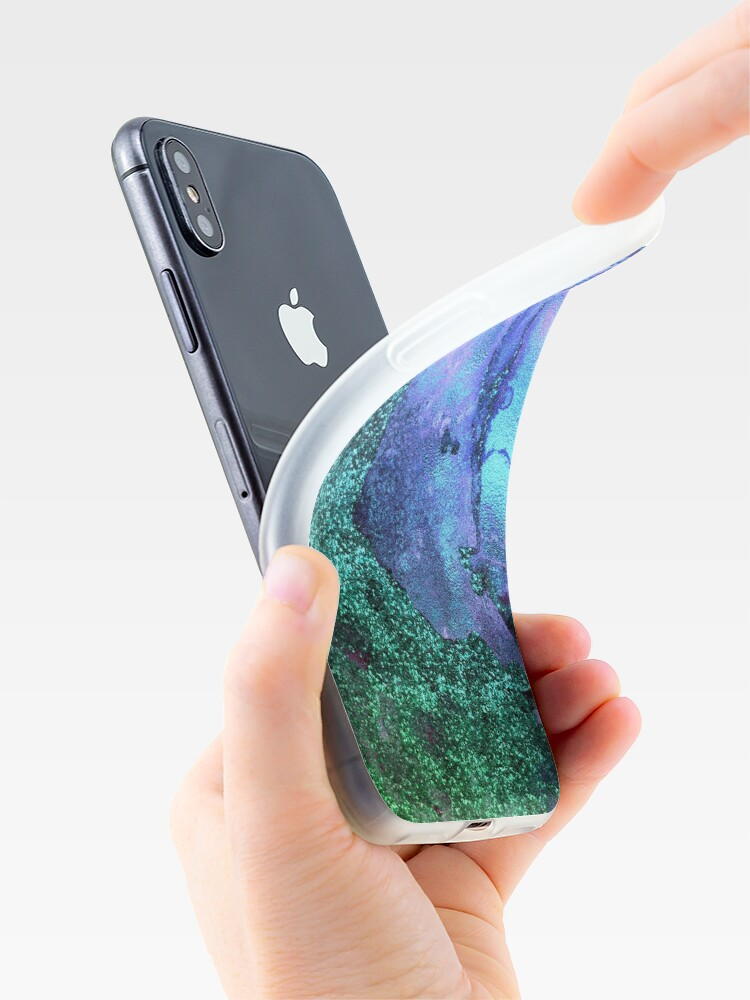 Alternate view of Ocean Mermaid Blue and Green Glitter on Marble iPhone Case & Cover