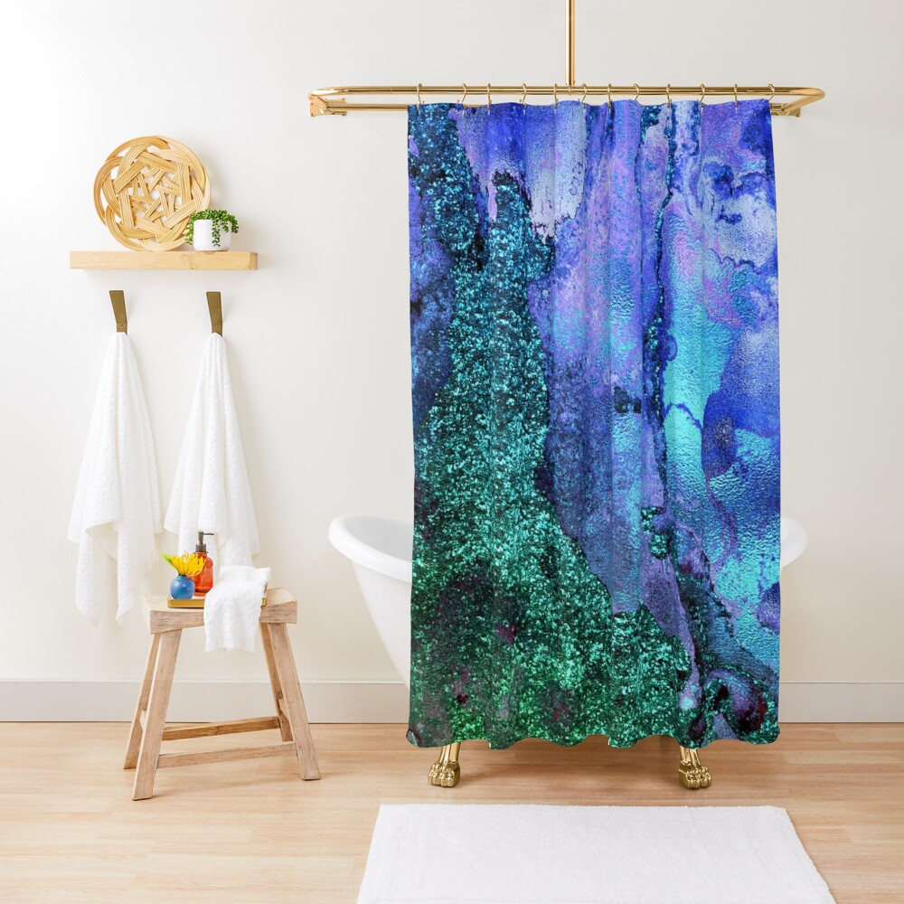 Ocean Mermaid Blue and Green Glitter on Marble Shower Curtain