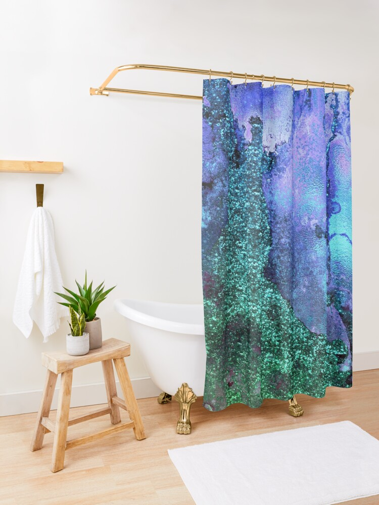 Alternate view of Ocean Mermaid Blue and Green Glitter on Marble Shower Curtain