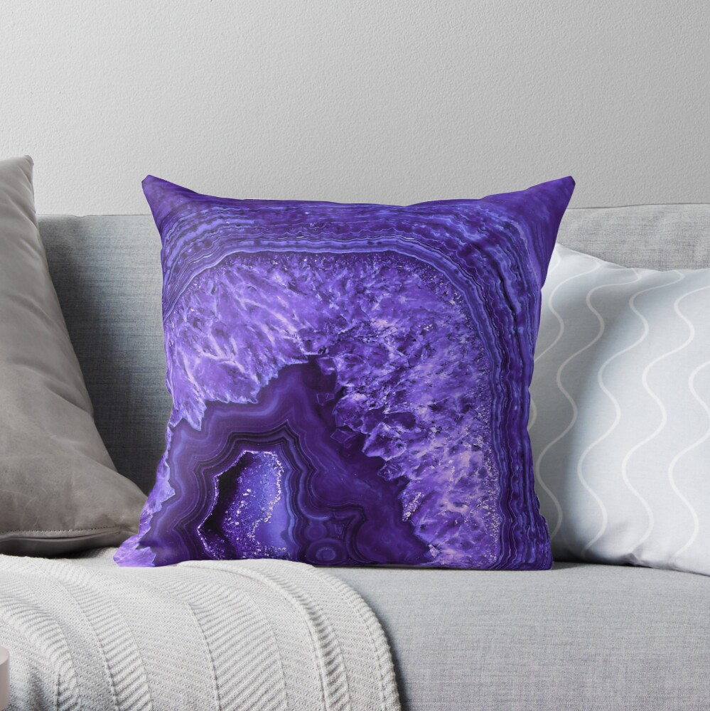 Ultra Violet Agate Mineral Gemstone Throw Pillow