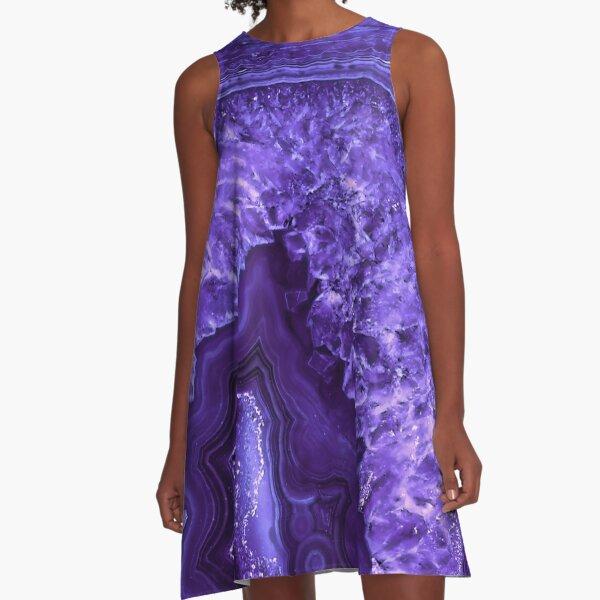 Ultra Violet Agate Mineral Gemstone A-Line Dress