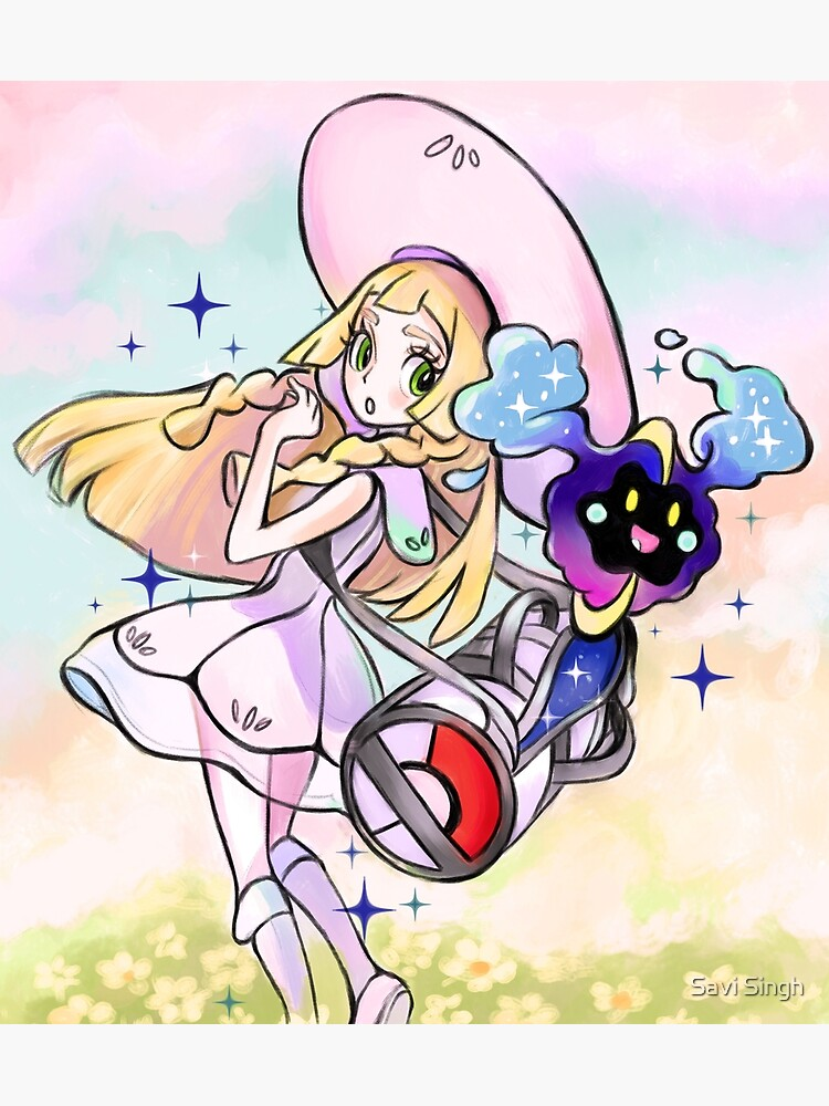 Lillie And Nebby pokemon moon sun / Cosmog by artbysavi