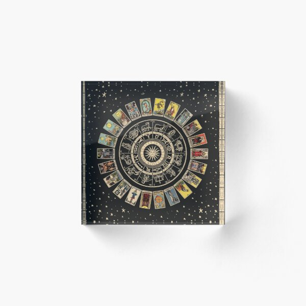 Wheel of the Zodiac, Astrology Chart & the Major Arcana Tarot Acrylic Block