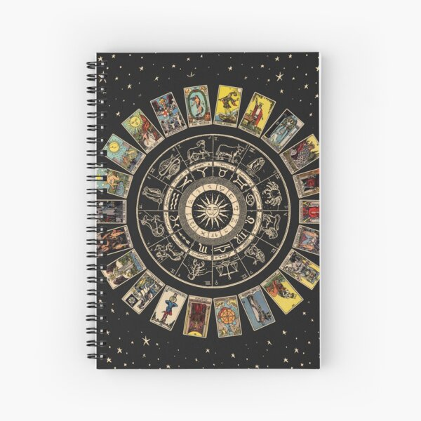 Wheel of the Zodiac, Astrology Chart & the Major Arcana Tarot Spiral Notebook