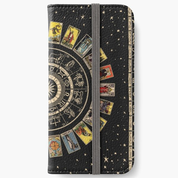Wheel of the Zodiac, Astrology Chart & the Major Arcana Tarot iPhone Wallet
