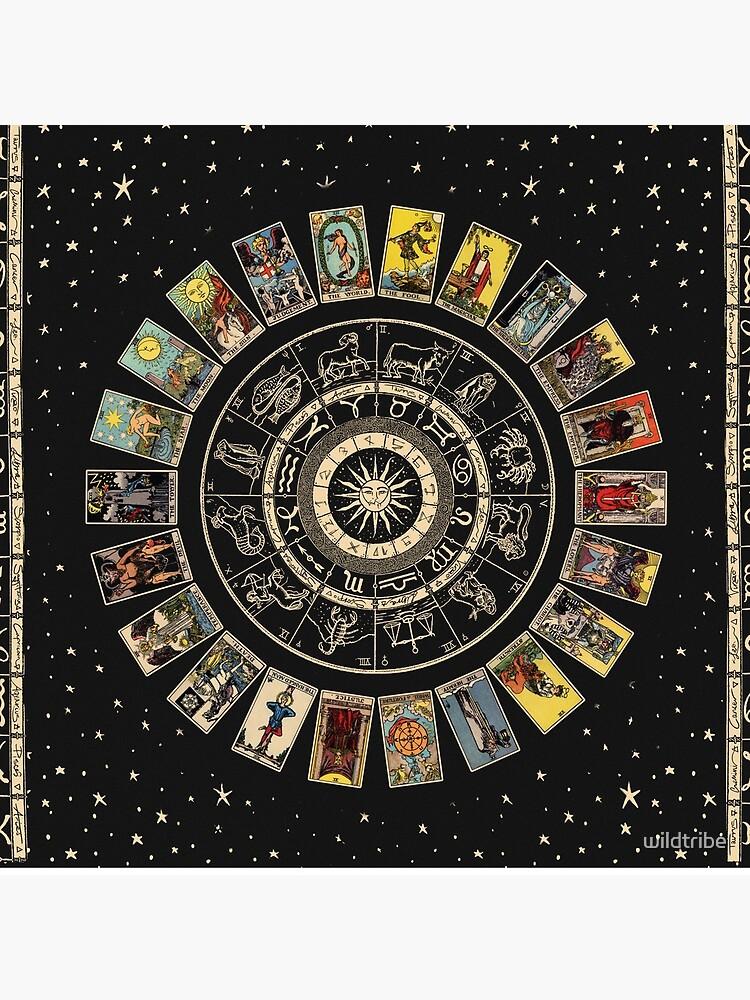 Wheel of the Zodiac, Astrology Chart & the Major Arcana Tarot by wildtribe