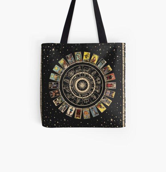 Wheel of the Zodiac, Astrology Chart & the Major Arcana Tarot All Over Print Tote Bag