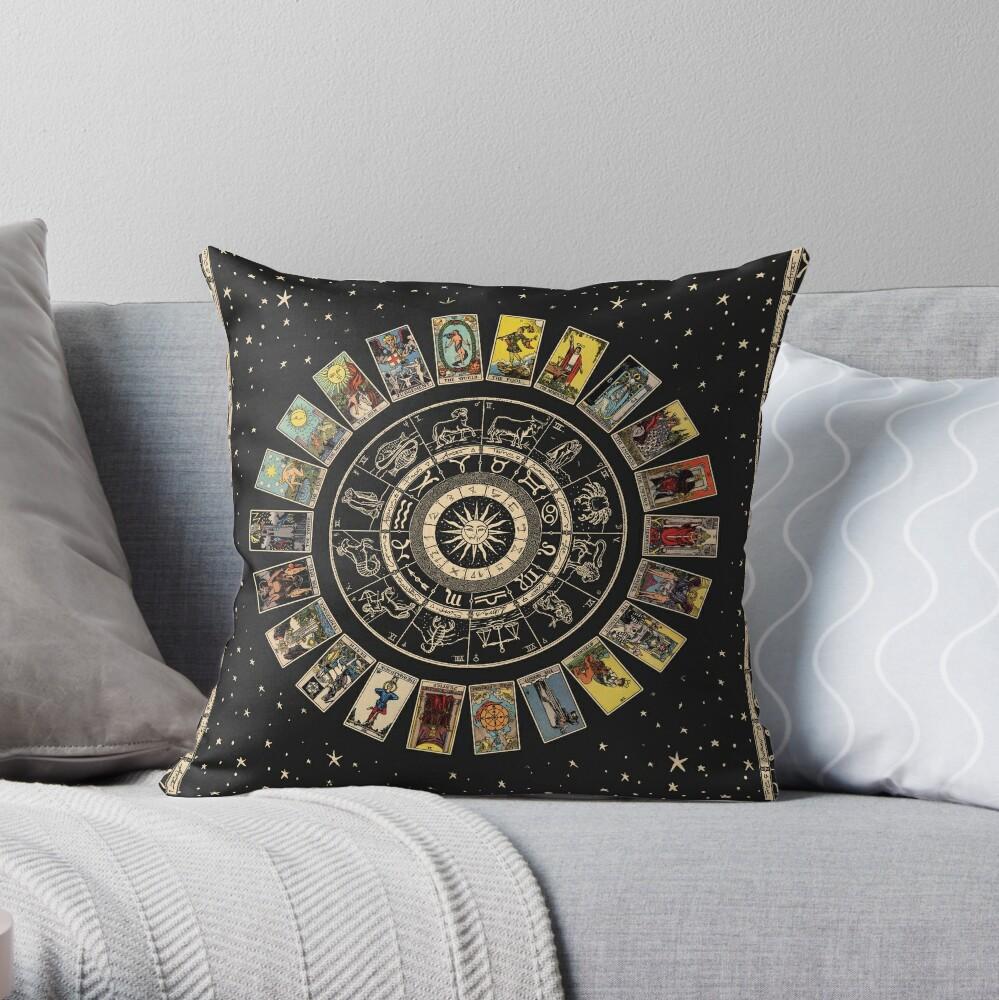 Wheel of the Zodiac, Astrology Chart & the Major Arcana Tarot Throw Pillow