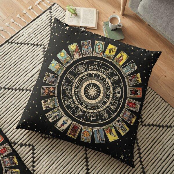 Wheel of the Zodiac, Astrology Chart & the Major Arcana Tarot Floor Pillow