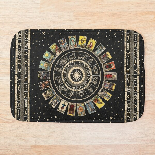 Wheel of the Zodiac, Astrology Chart & the Major Arcana Tarot Bath Mat