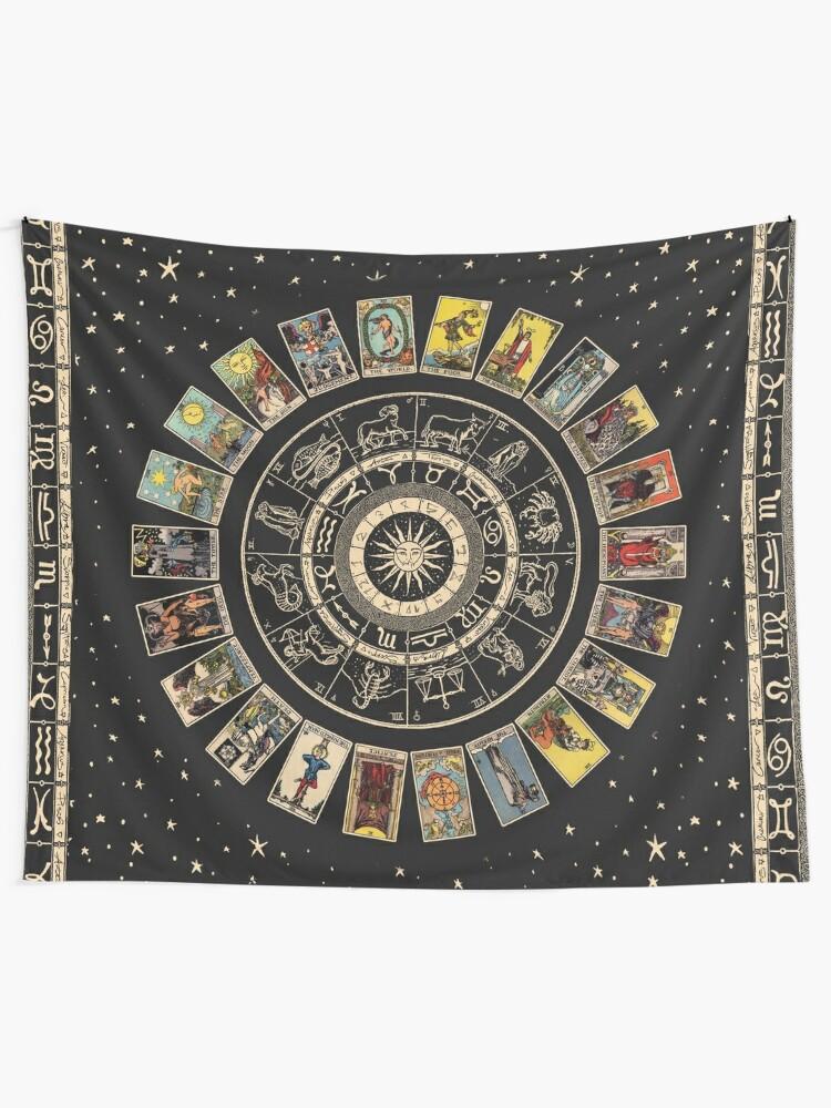 Alternate view of Wheel of the Zodiac, Astrology Chart & the Major Arcana Tarot Tapestry