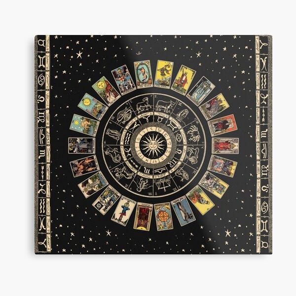 Wheel of the Zodiac, Astrology Chart & the Major Arcana Tarot Metal Print
