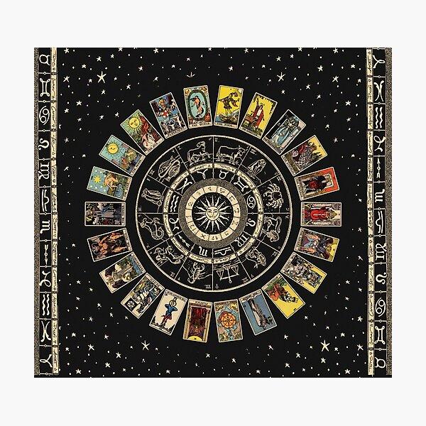 Wheel of the Zodiac, Astrology Chart & the Major Arcana Tarot Photographic Print