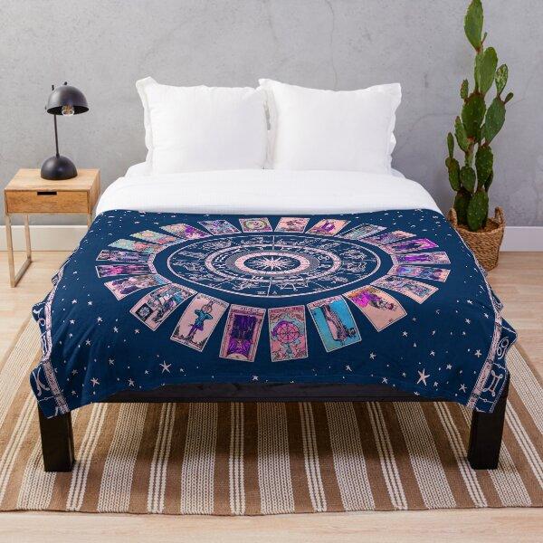 Pastel Goth Zodiac, Astrology Chart & the Major Arcana Tarot Throw Blanket