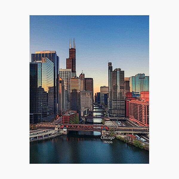 Chicago, Illinois, US - Chicago Skyline & Chicago River   Photographic Print
