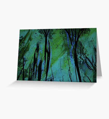 charred forest... new growth, green light filtering through Greeting Card