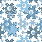 Seamless Christmas white blue snowflakes snow winter pattern by fuzzyfox