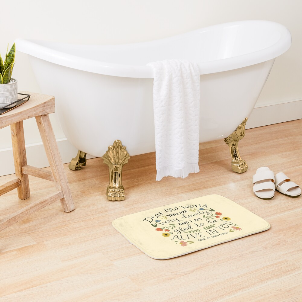 """Anne of Green Gables """"Dear Old World"""" Quote Bath Mat"""