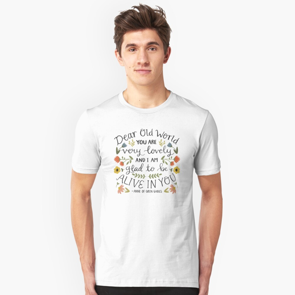 "Anne of Green Gables ""Dear Old World"" Quote Slim Fit T-Shirt"