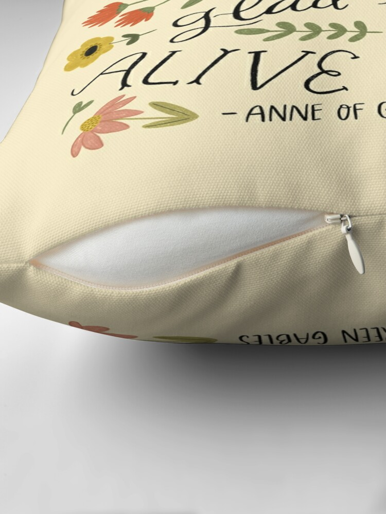 """Alternate view of Anne of Green Gables """"Dear Old World"""" Quote Throw Pillow"""