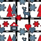 Seamless Christmas deer house tree eve snowflake hearts white red blue by fuzzyfox
