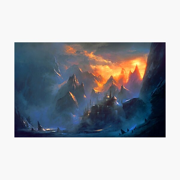 fantasy landcape - mountain village Photographic Print