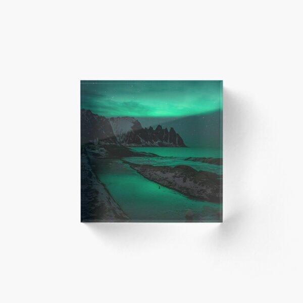 Northern lights over the sea Acrylic Block