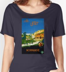 France Normandy Vintage Travel Poster Restored Women's Relaxed Fit T-Shirt