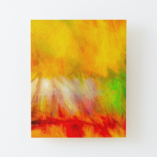 Daisy On Fire Wood Mounted Print