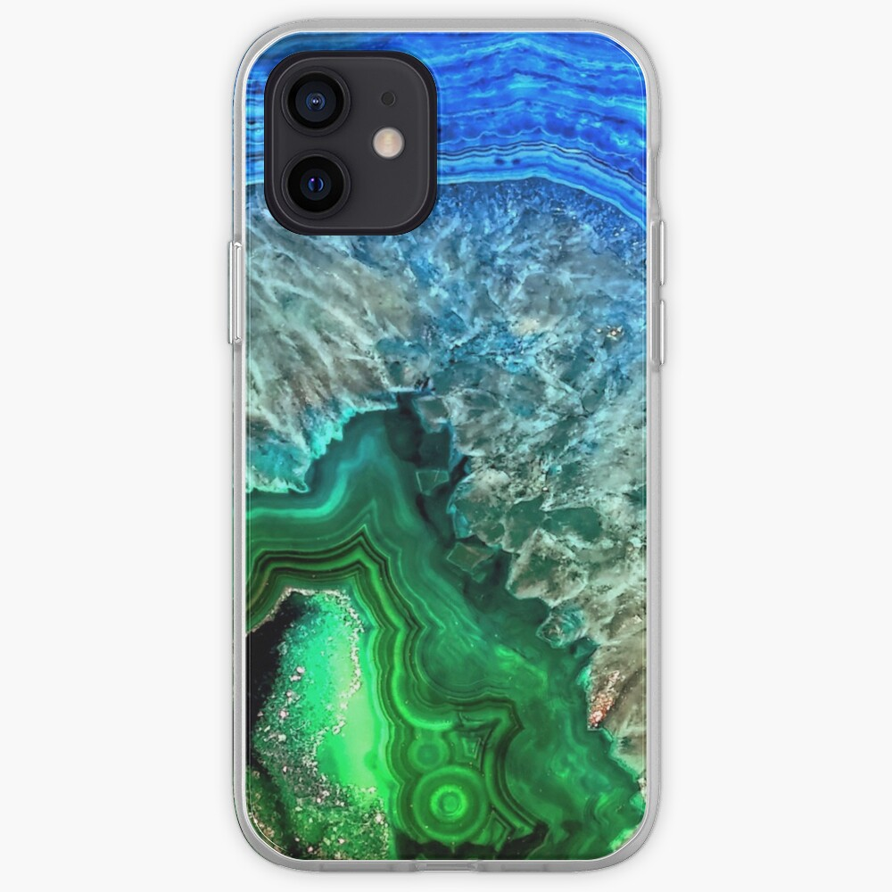 Green and Blue Agate Mineral Gemstone iPhone Case & Cover